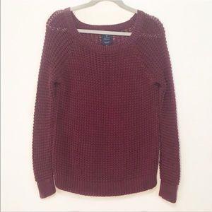 American Eagle   Burgundy Chunky Knit Sweater